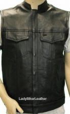 Buy Mens BIKER Black PREMIUM Leather CONCEALED CARRY Motorcycle CLUB Vest HI COLLAR