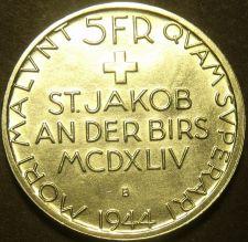 Buy Switzerland 1944-B 5 Francs Silver Unc~Battle of St. Jakob An Der Birs~Free Ship