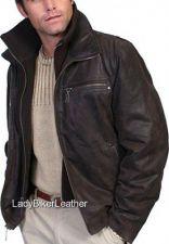 Buy MENS Brown PREMIUM Leather VINTAGE CAR COAT Jacket Z/O Knit COLLAR/Flannel Front