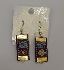 Buy Women Earrings Fashion Drop Dangle Brown Quilted Fabric Hook Fasteners Unbranded