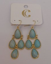 Buy Women Fashion Drop Dangle Earrings Mint Beads Gold Tones Hook Fastener C JEWELY