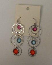Buy Women Fashion Earrings Drop Dangle Silver Rings Multi Color Rhinestones Unbrande