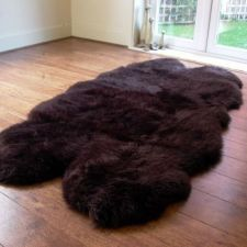 Buy Genuine Sheepskin called a Quad approx 205cm x 120cm Chocolate colour