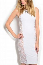 Buy SIZE 1XL 2XL 3XL Womens Dress AUDITIONS Solid White Lace Sides Knit Stretch