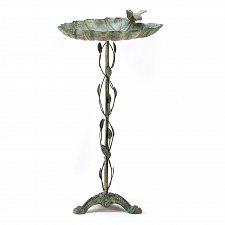 Buy 39448U - Verdigris Finish Leaf Shaped Birdbath Scalloped Bowl Ornate Pedestal