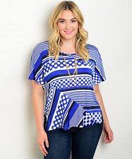 Buy Women Knit Top Plus Size 1XL-3XL Essential Blue Stripes & Polka Dots Batwings