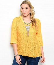 Buy Womens Tunic Top Plus Size XL XXL IRE Solid Yellow Floral 3/4 Sleeves Scoop Neck