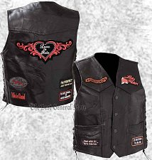 Buy Black Leather Ladies Motorcycle Vest Lady Rider with Biker Patches Laced Women