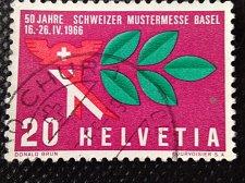Buy Switzerland 1V USED STAMP 1966 Mi834 Mercury hat & laurel branch