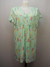 Buy SIZE S/M Women Night Gown HUE INTIMATES Mint Print V-Neck Kimono Sleeves Pullove