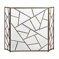 Buy *18029U - Modern Geometric 3 Panel Folding Bronze Iron Fireplace Screen