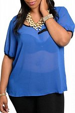 Buy Womens Sheer Top SIZE 2X Royal Blue Short Sleeves Scoop Neck