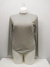 Buy SIZE XL Womens Rib Body Suit NO BOUNDARIES Solid Grey Long Sleeves Mock Turtle
