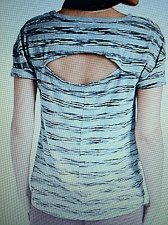 Buy Lucky Brand Women`s Medium Open Back Striped Grey and Black Tee