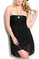 Buy Women Prom Party Dress PLUS SIZE 1XL 2XL Black Tulip Chiffon Overlay Strapless