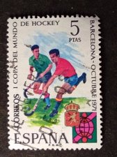 Buy SPAIN 1 Used Stamp 1971 SG2116 World Hockey Championships, Barcelona