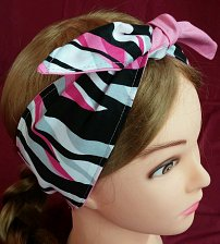 Buy Headband hair wraptie bandana black pink gray white stripe print 100% Cotton
