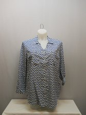 Buy SIZE L Womens Button Down Shirt FADED GLORY Polka Dots Collared Long Tab Sleeves