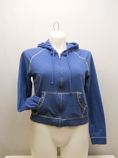 Buy SIZE 2XL Womens Cropped Hoodie l.e.i. Solid Blue Zip Front Long Sleeves Pockets
