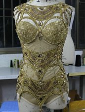 Buy Dance Wear Showgirl Singer Cabaret Dress Body Suit Stage Gold Silver Sexy Women