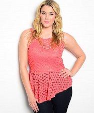 Buy Peplum Top Size 1XL 3XL JAY JANE Coral Lace Scoop Neck Sleeveless Asymmetrical