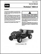 Buy Toro Workman MDX-D Utility Vehicle with Kubota Diesel Engine Service Manual CD
