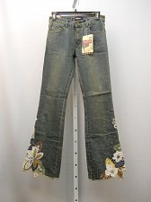 Buy SIZE S Womens Jean PRISTINE Embellished Boot Cut Cotton Stonewashed Inseam 33
