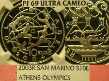 Buy San Marino 2003-R 10 Euro NGC Proof-69 Ultra Cameo~Athen Olympics~Highest Pop-1~