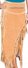 Buy LADIES Long CREAM BLACK or RED Premium SUEDE Leather FRINGE Skirt WRAP AROUND