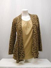 Buy Women Top Size S WHITE STAG Animal Print Layered Look Twofer Long Sleeves