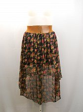 Buy SIZE XL Asymmetrical Skirt BB COUTURE Floral Sheer Overlay Mock Lace-Up Belt