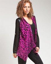 Buy SIZE L Women Sheer Wrap Cardigan LOVE TREE Animal Print Long Sleeve Faux Leather