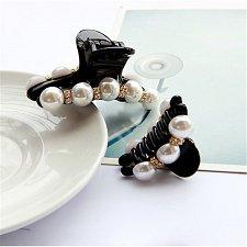 Buy Women Girl Fashion Black Crystal Pearl Rhinestone Hair Clip Claw Jewelry 2 pcs