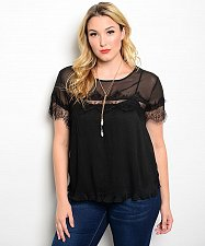 Buy SIZE 1XL 2XL Women Top C.O.C. Solid Black Scoop Neck Lace Pleated Short Sleeve