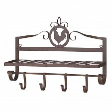 Buy *17094U - Rooster Silhouette Rustic 4 Hook Iron Wall Rack
