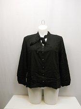 Buy PLUS SIZE 1X Women Button Shirt CONCEPTS Solid Black Tie Collar Neck Long Sleeve