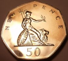 Buy Great Britain 1975 50 New Pence Proof~100,000 Minted~Scarce