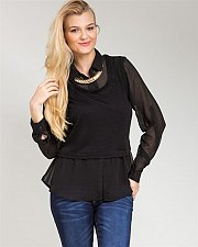 Buy Knit Top Size 1XL 2XL FINESSE Black Long Sleeve Collared Neck Layered Look Sheer