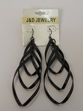 Buy Women Fashion Drop Dangle Earrings Triple Twisted Black Loops Hook J&D JEWELRY