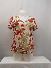 Buy PLUS SIZE 0X 1X Womens Knit Top KAREN SCOTT Floral Print V-Neck Short Sleeve