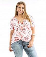 Buy PLUS SIZE 1X 2X Top Womens ROMAN Geometric Surplice Ruched Short Sleeve Necklace