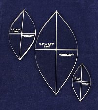 """Buy 3 Piece Quilting Leaf Templates -1/4 """" w/ Center Hole & Cross Hairs -Acrylic"""