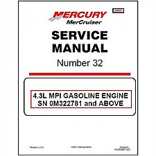 Buy 2001-2015 MerCruiser #32 Sterndrive 4.3L MPI Marine Engine Service Manual CD