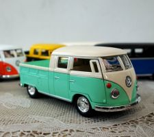 Buy 1963 Volkswagen Bus Double Cab Pickup Diecast Blue Scale:1/34,free shipping