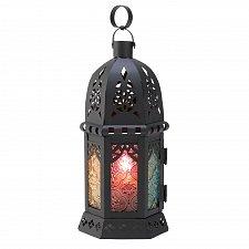 Buy D1060U - Enchanted Rainbow Pressed Glass Intricate Cutout Metal Candle Lantern