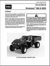 Buy TORO Workman MD & MDX UTV Utility Vehicles Service Manual on a CD