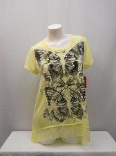 Buy SIZE L Womens Tunic Top Yellow Twist Neck Chiffon Hem Embellished Short Sleeves