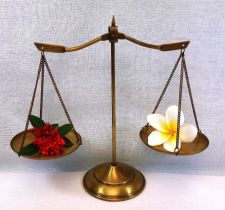 Buy Vintage Scale Compact Solid Brass Weigh Balance of Justice Double Trays