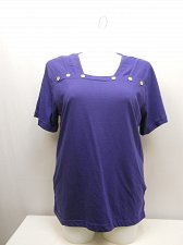 Buy PLUS SIZE 2X Women Knit Top AMERICAN SWEETHEART Solid Blue Square Neck