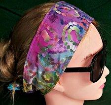 Buy Headband hair wraptie bandana batik print purple reverse 100% Cotton hand made